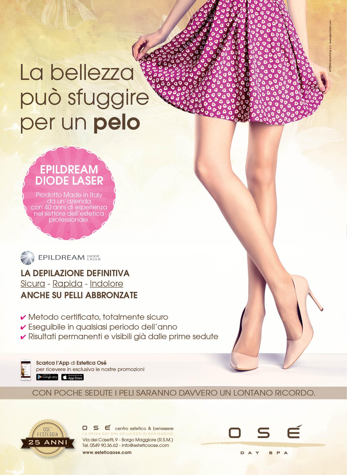 Campagna-pubblicitaria-depilazione-laser-diodo-gambe-gomma-rosa-magenta